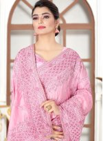 Embroidered Silk Pink Traditional Designer Saree
