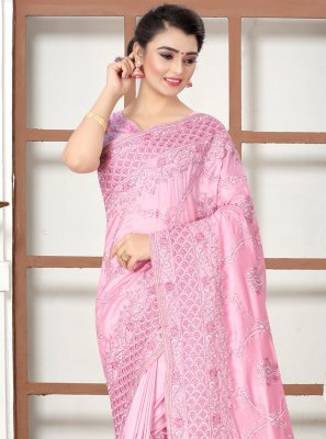 Embroidered Silk Pink Traditional Designer Saree