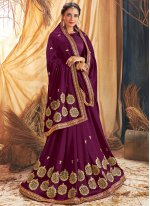 Embroidered Silk Purple Traditional Saree