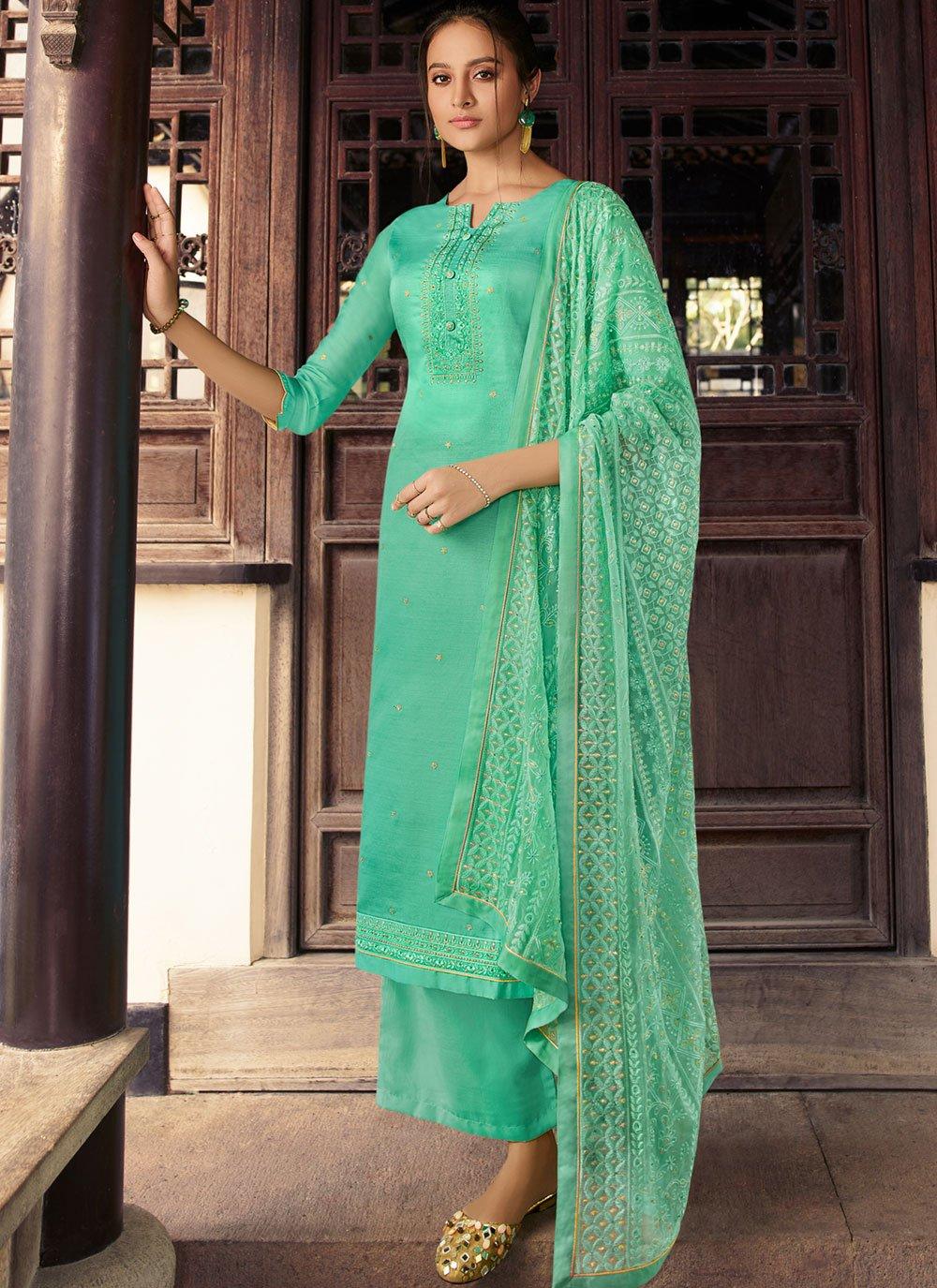 Embroidered Silk Sea Green Designer Palazzo Suit