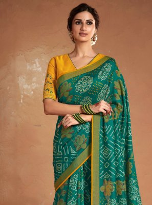 Embroidered Silk Sea Green Designer Saree