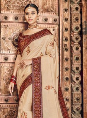 Embroidered Silk Traditional Designer Saree in Cream