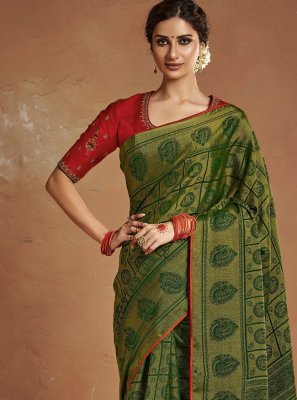 Embroidered Silk Traditional Designer Saree in Green