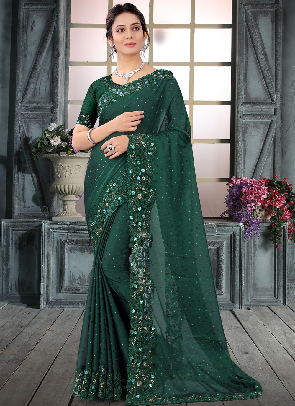 Embroidered Silk Traditional Saree