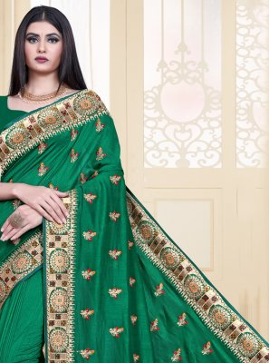Embroidered Silk Traditional Saree in Sea Green