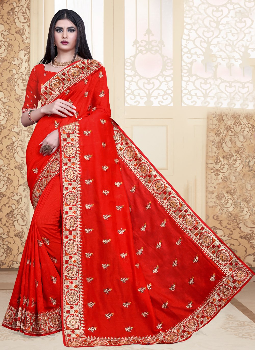 Embroidered Silk Trendy Saree in Red