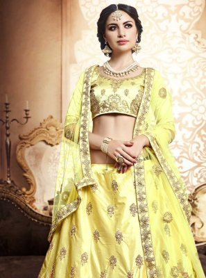 Embroidered Silk Yellow Lehenga Choli