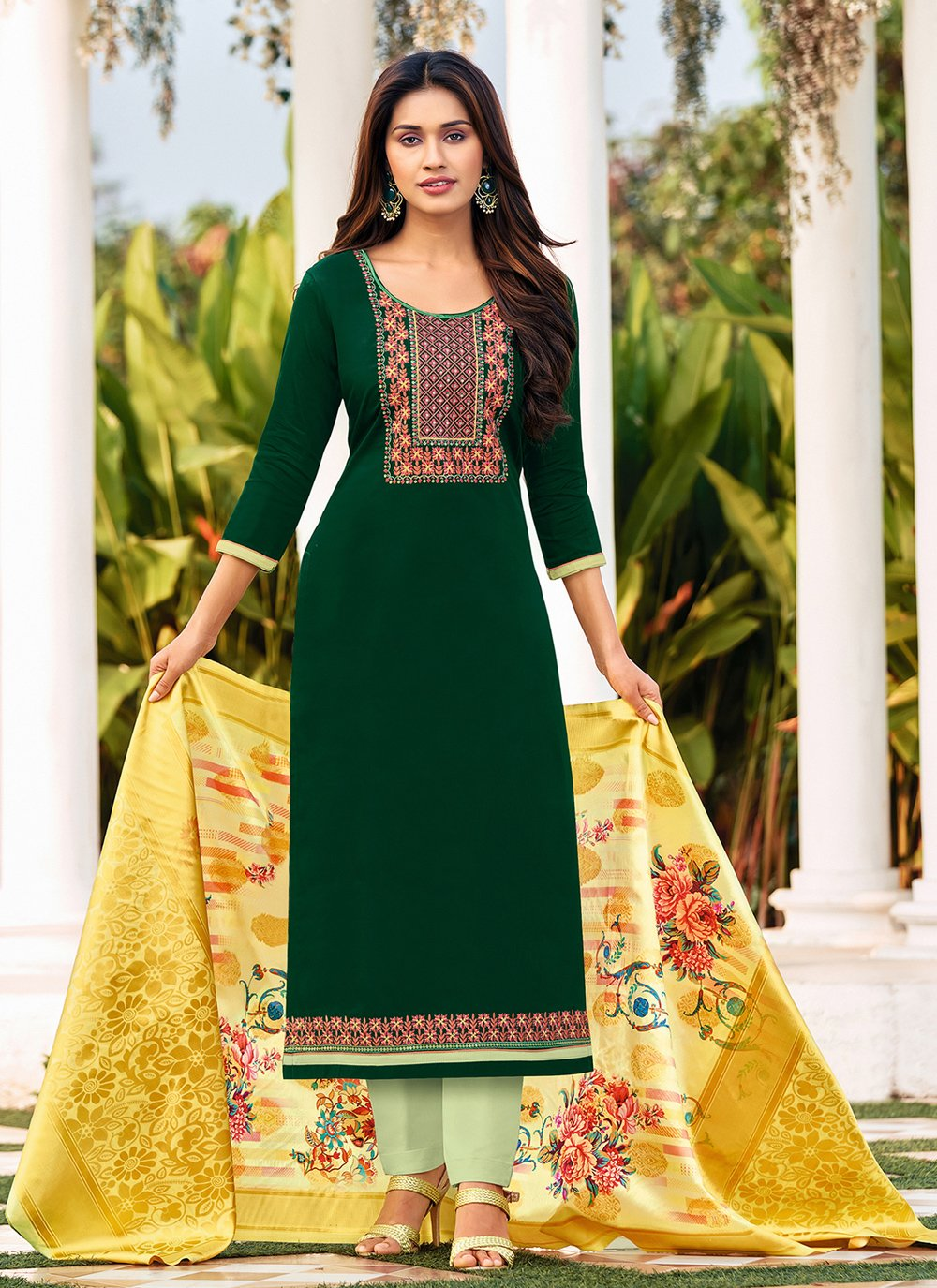Embroidered Straight Suit