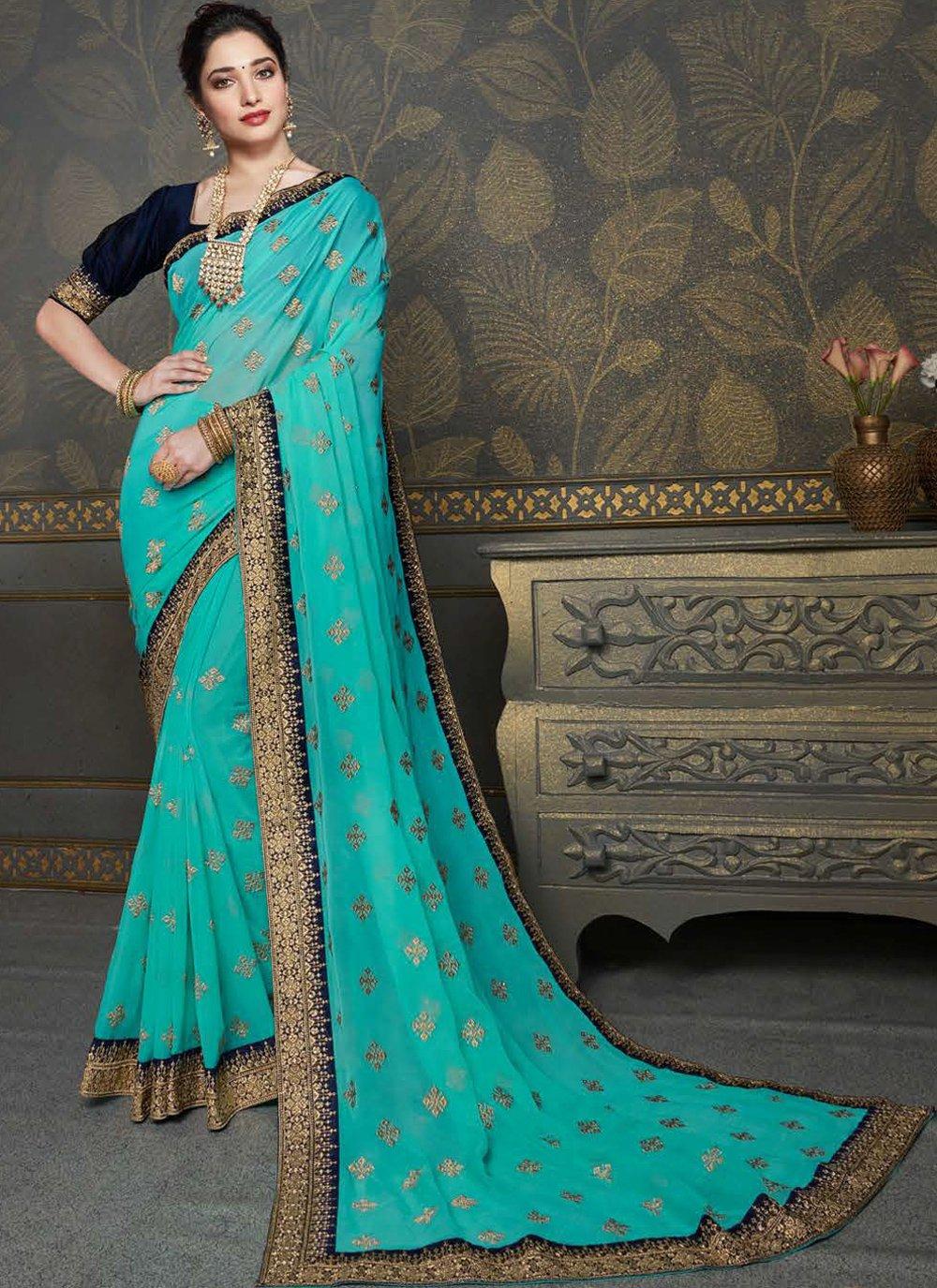 Embroidered Tamannaah Bhatia Faux Chiffon Classic Designer Saree