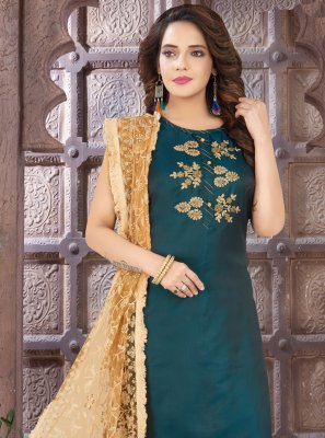 Embroidered Teal Art Silk Readymade Suit