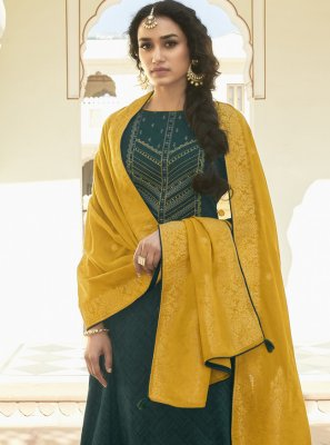 Embroidered Teal Designer Pakistani Suit