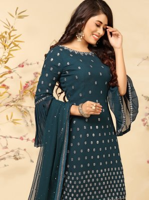 Embroidered Teal Faux Georgette Readymade Suit