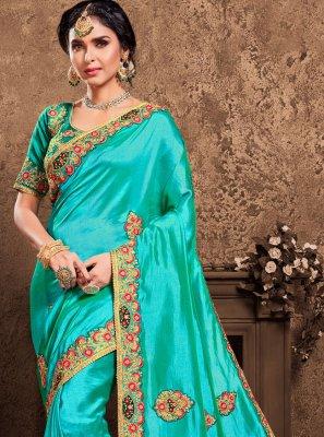 Embroidered Turquoise Designer Saree