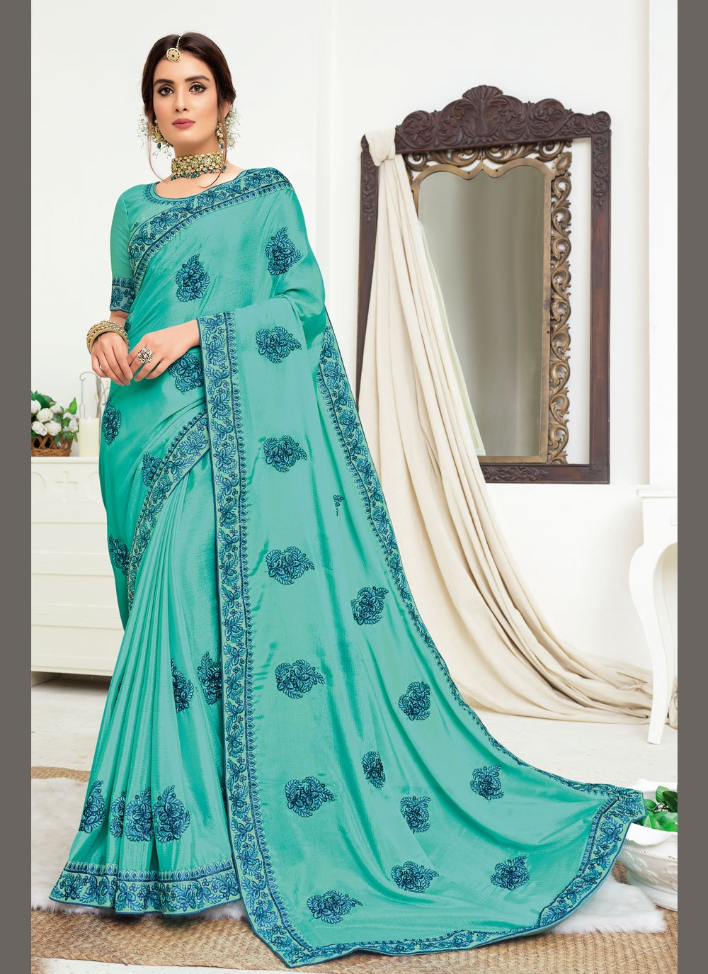 Embroidered Turquoise Faux Chiffon Trendy Saree