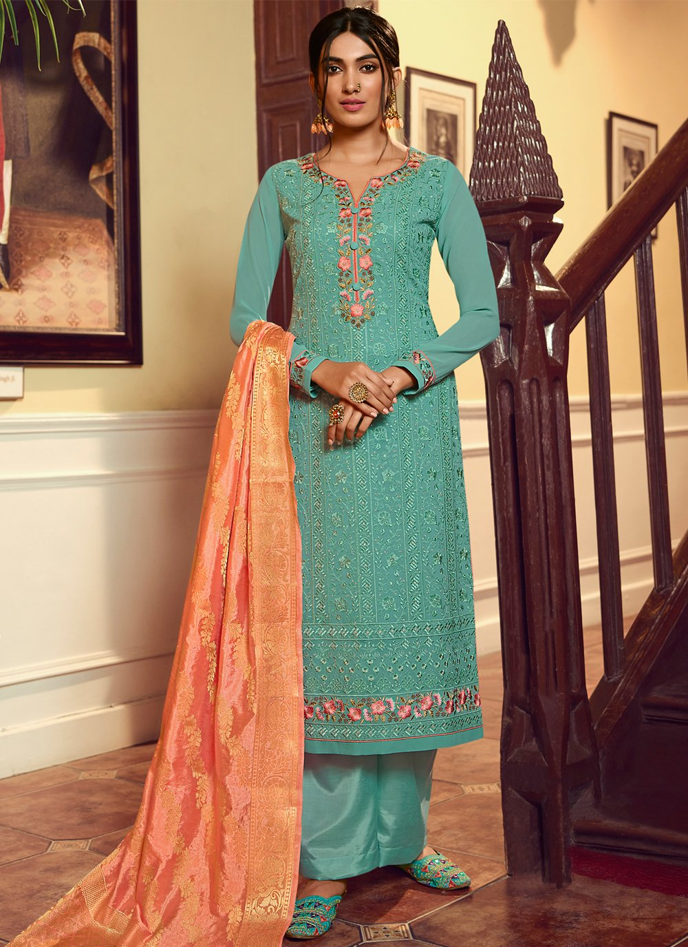 Embroidered Turquoise Faux Georgette Designer Palazzo Salwar Kameez
