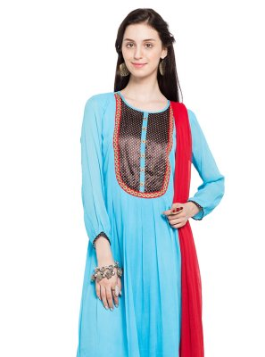 Embroidered Turquoise Faux Georgette Readymade Anarkali Salwar Suit