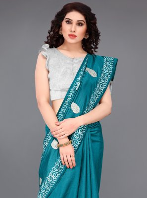 Embroidered Turquoise Traditional Designer Saree