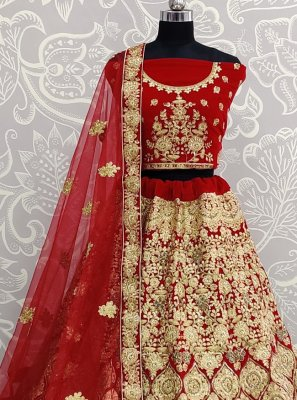 Embroidered Velvet A Line Lehenga Choli in Red