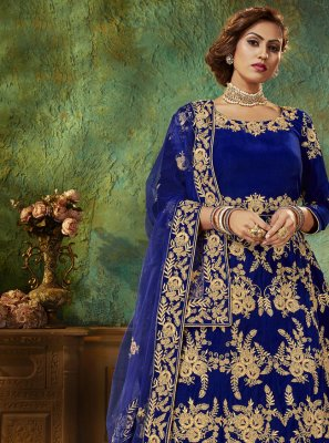 Embroidered Velvet Blue Floor Length Anarkali Salwar Suit