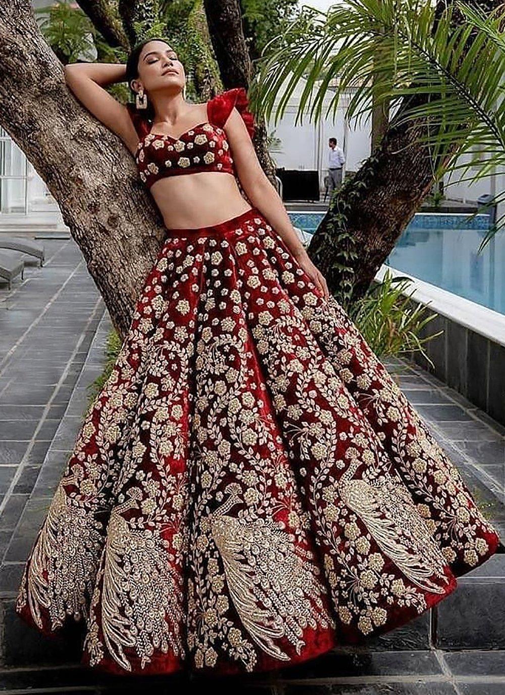 Embroidered Velvet Maroon A Line Lehenga Choli