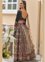 Embroidered Velvet Navy Blue A Line Lehenga Choli