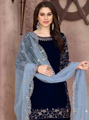 Embroidered Velvet Trendy Patiala Suit