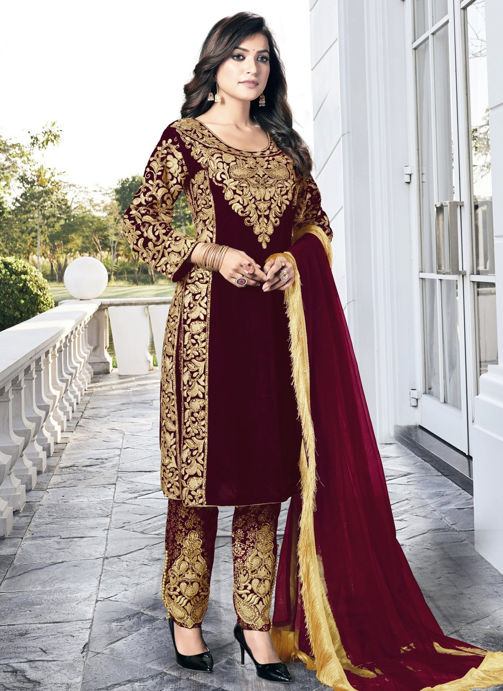 Embroidered Velvet Wine Pant Style Suit