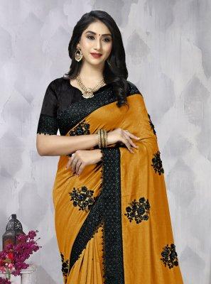 Embroidered Vichitra Silk Contemporary Saree in Mustard
