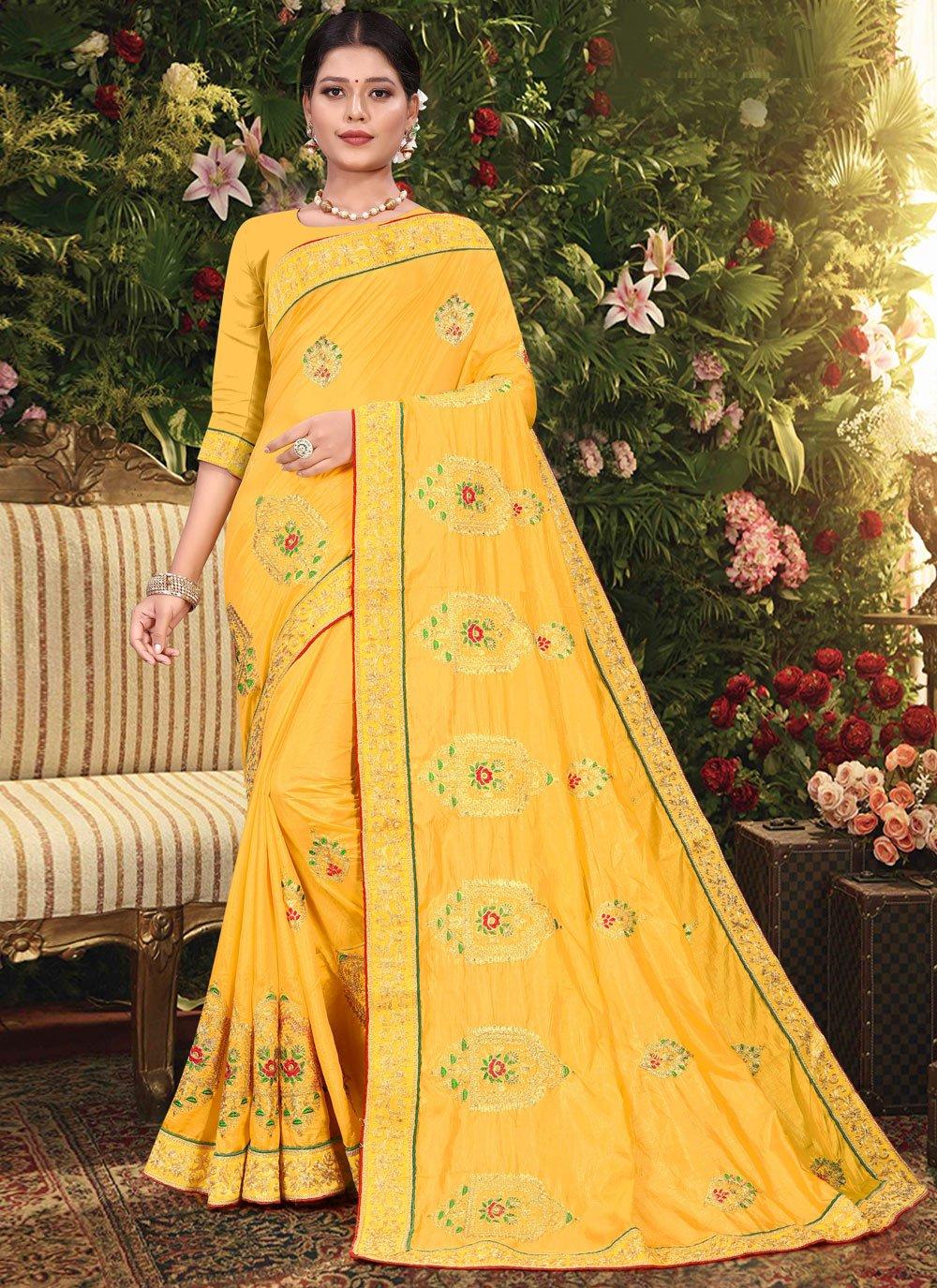 Embroidered Vichitra Silk Traditional Designer Saree