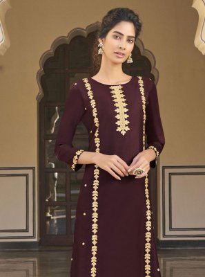 Embroidered Viscose Designer Kurti in Wine