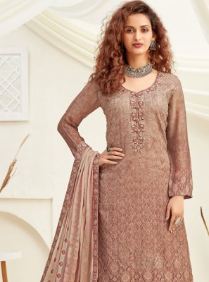 Embroidered Viscose Designer Palazzo Suit in Beige