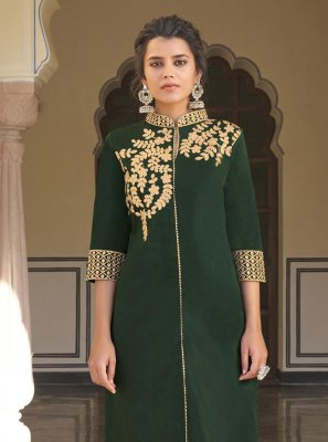 Embroidered Viscose Green Designer Kurti
