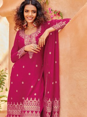 Embroidered Viscose Pant Style Suit