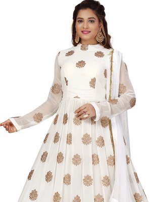 Embroidered Viscose White Gown