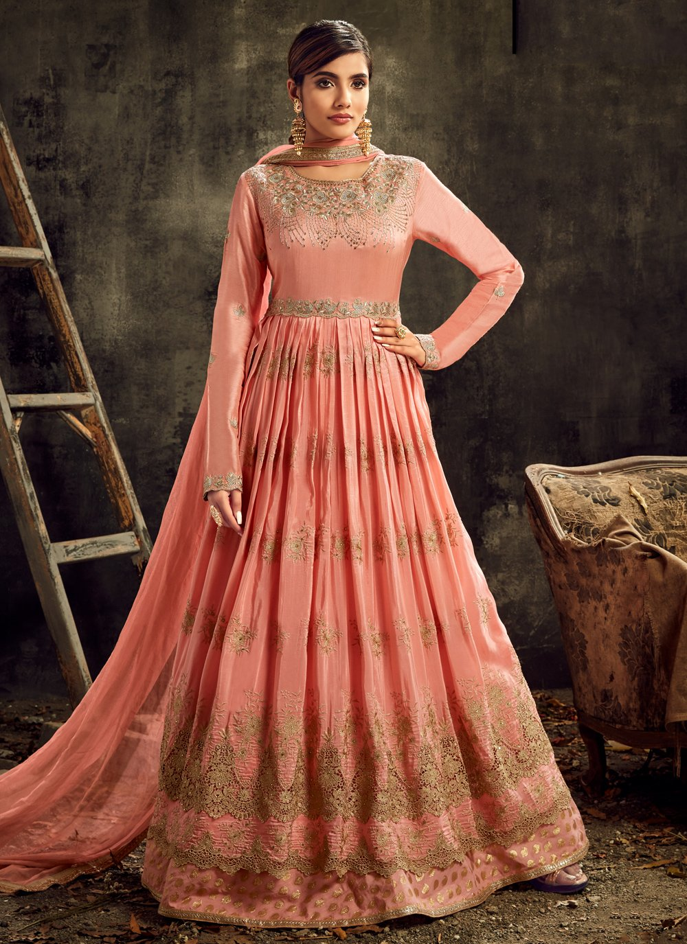 Embroidered Wedding Designer Floor Length Suit