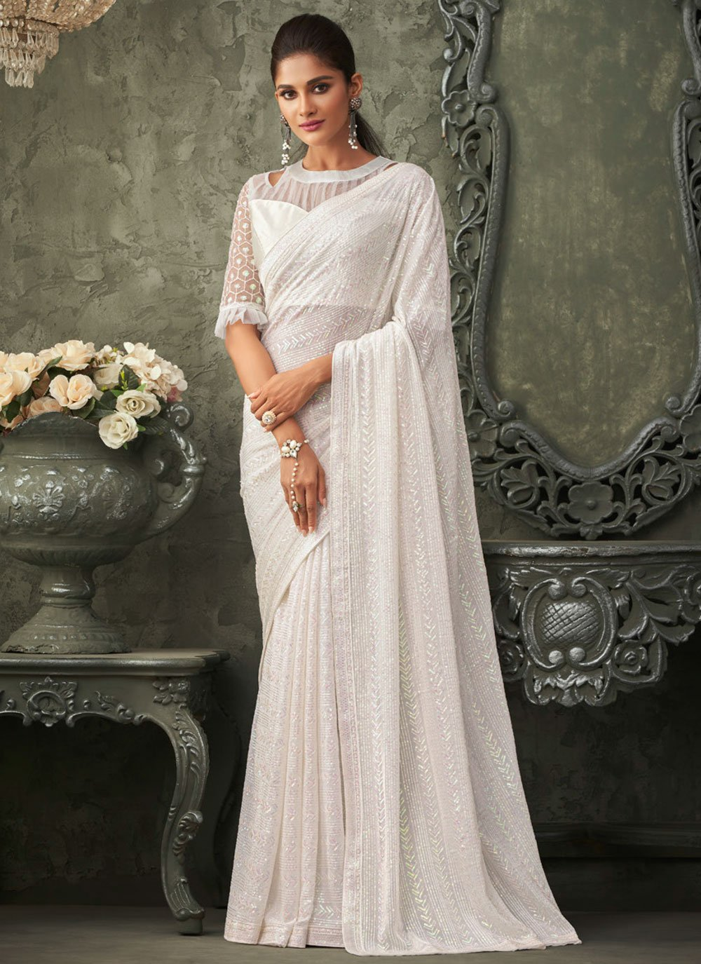 Embroidered White Bollywood Saree