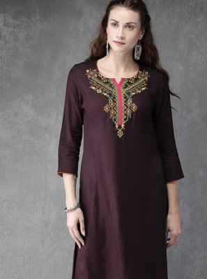 Embroidered Wine Designer Kurti