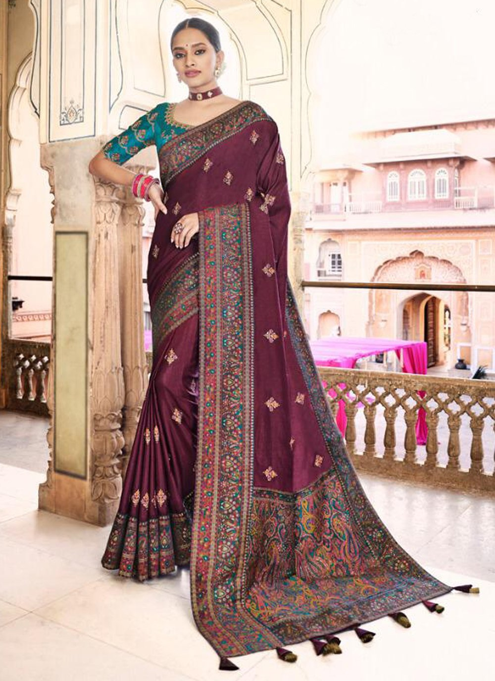 Embroidered Wine Designer Traditional Saree
