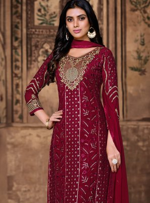 Embroidered Wine Georgette Pant Style Suit