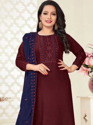 Embroidered Wine Linen Readymade Suit