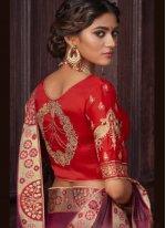 Embroidered Wine Silk Traditional Designer Saree