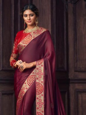 Embroidered Wine Silk Traditional Designer Saree