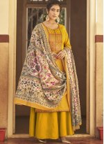 Embroidered Yellow Cotton Designer Pakistani Salwar Suit