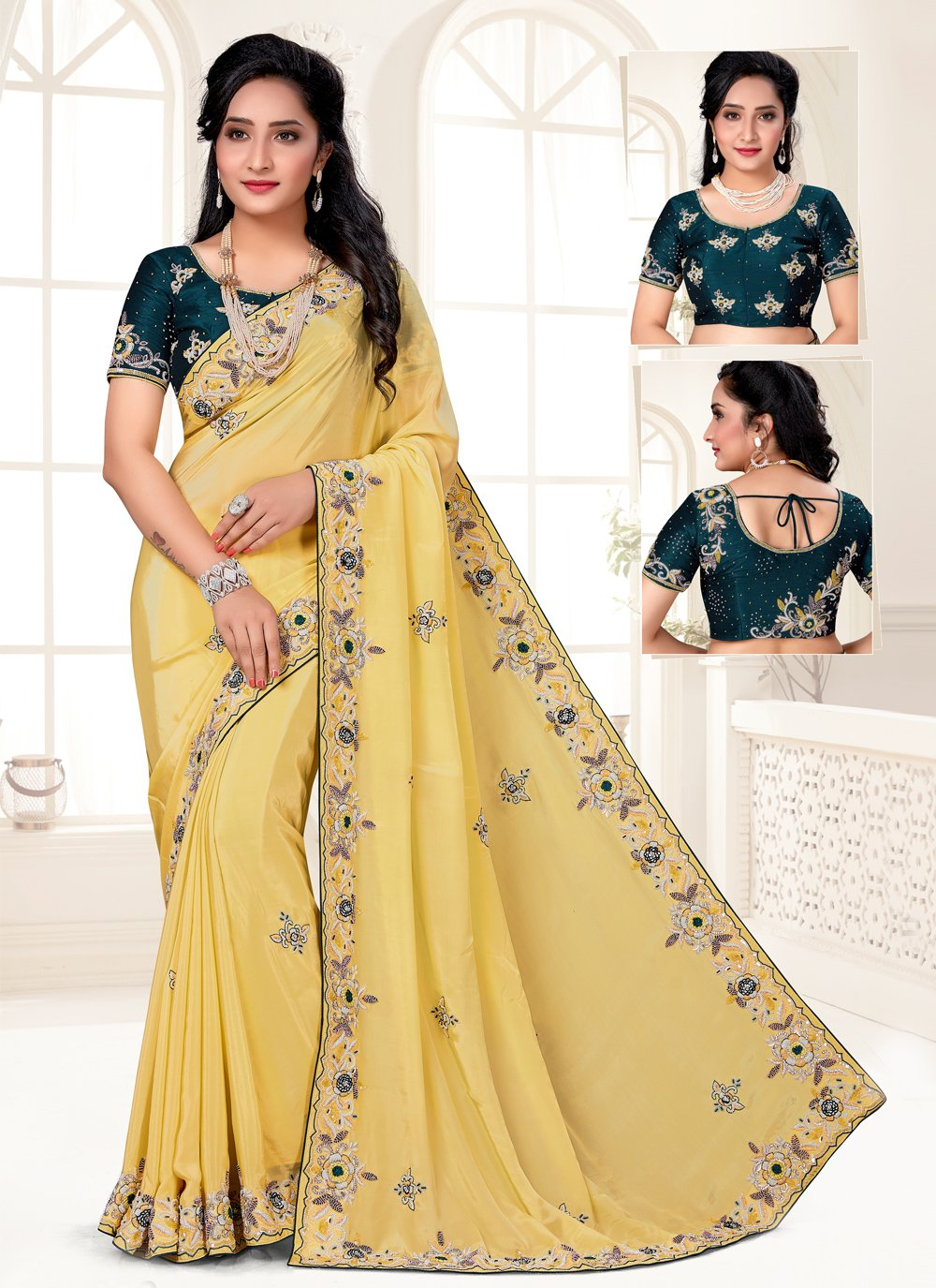 Embroidered Yellow Faux Crepe Designer Saree