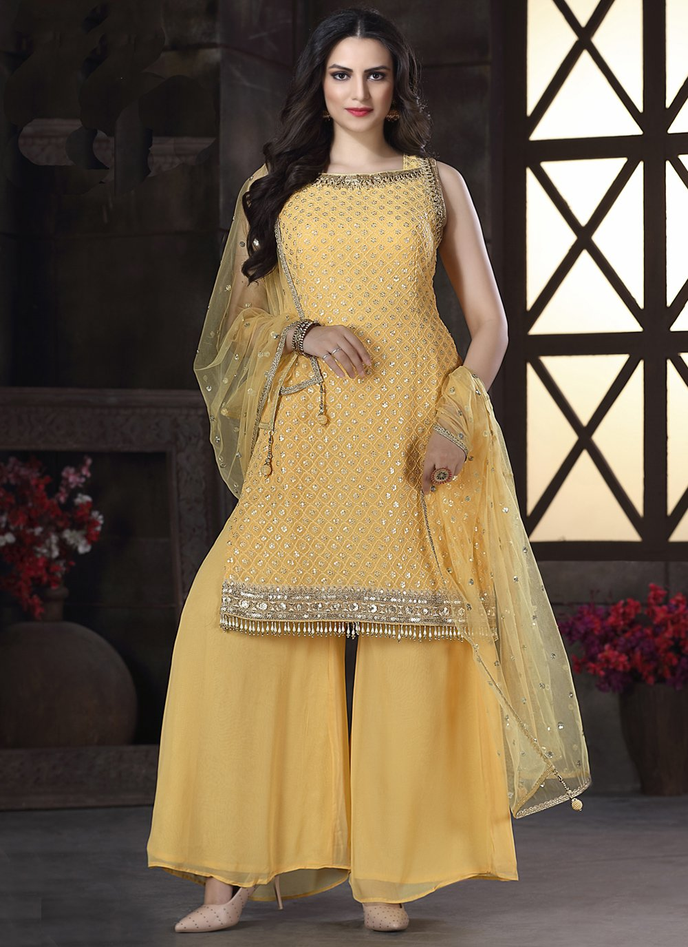 Embroidered Yellow Georgette Readymade Suit