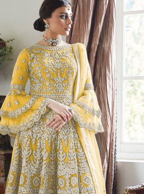 Embroidered Yellow Net Designer Palazzo Suit