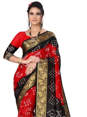 Fancy Art Silk Black and Red Traditional Designer Saree