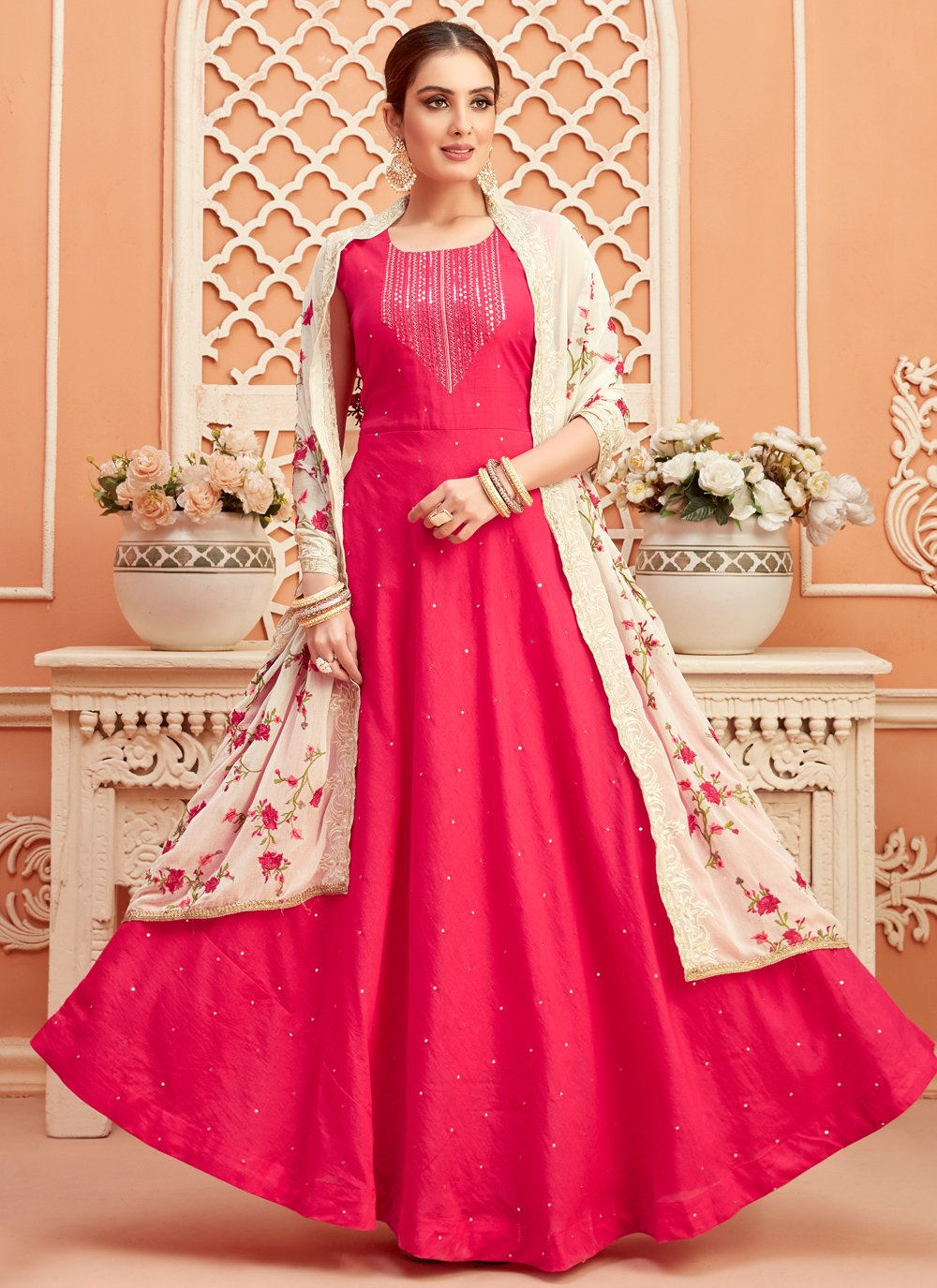 Fancy Art Silk Floor Length Anarkali Suit in Hot Pink