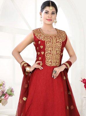 Fancy Art Silk Floor Length Anarkali Suit in Maroon