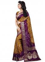 Fancy Art Silk Gold and Purple Traditional Designer Saree